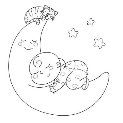 Fototapet Tenera luna con bébé che dorme