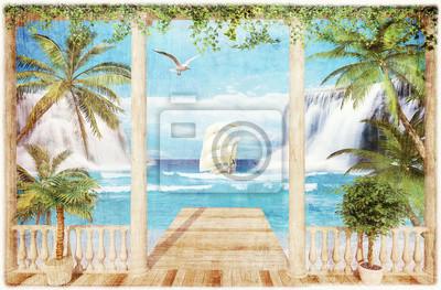 Fototapet terrass med havsutsikt