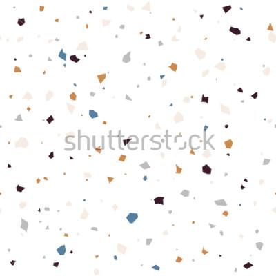 Fototapet Terrazzo golv texturerad yta modern abstrakt mönster. Vektor sömlösa abstrakt repeterande med marmor eller granitflikar i mjuk pastellfärg.