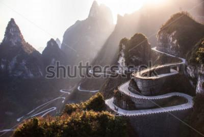 Fototapet The winding road of Tianmen mountain national park, Hunan province, China