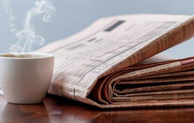 Fototapet Tidning och kaffe