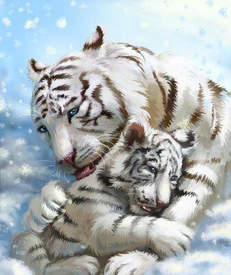 Fototapet tiger familjen