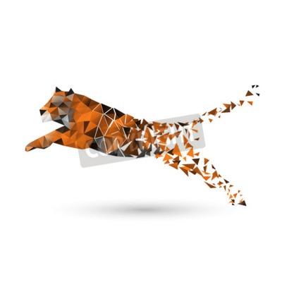 Fototapet Tiger polygoner