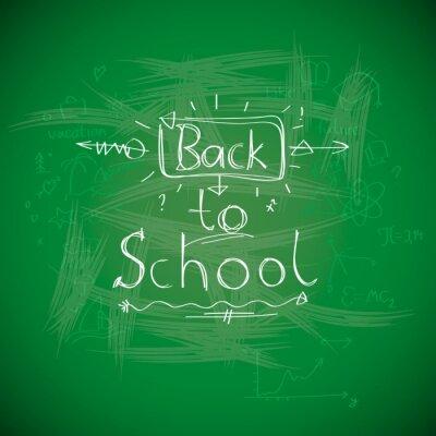 Fototapet Tillbaka till skolan, chalkwriting på svarta tavlan, vektor Eps10 bild.