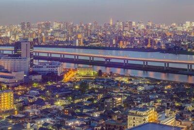 Fototapet Tokyo utsikt över staden med Tokyo Tower i skymningen
