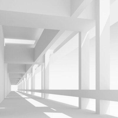 Fototapet Tom vit korridor perspektiv, 3d illustration