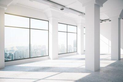 Fototapet Tom vit loft interiör med stora fönster, 3d