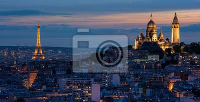 Fototapet Tour Eiffel et Sacré Coeur au couché de soleil