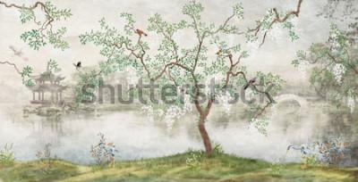Fototapet Träd vid sjön. Dimmigt landskap. Träd med fåglar i den japanska trädgården. väggmålningen, tapeter för inredning