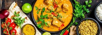 Fototapet Traditionell curry och ingredienser