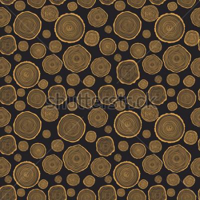 Fototapet Trädringar Seamless Vector Pattern. Sågskuren trädstam bakgrund. Vektor illustration.