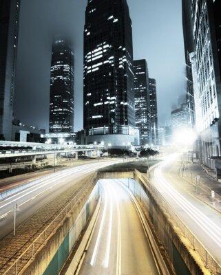 Fototapet trafik i Hong Kong på natten