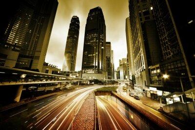 Fototapet trafik i Hongkong vid solnedgång