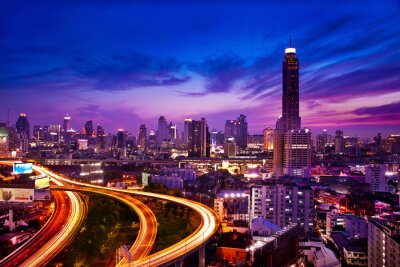 Fototapet Trafiken i modern stad på natten, Bangkok