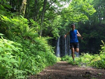 Fototapet Trail Runner på skogsmark väg