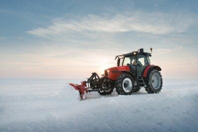Fototapet Traktor rengöring snö