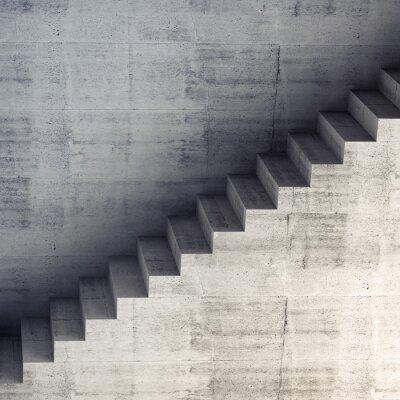 Fototapet Trappor på väggen, abstrakt konkret inre 3d