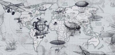 Fototapet travel across the globe, balloons, aircraft, cars, ships photo wallpapers on the wall
