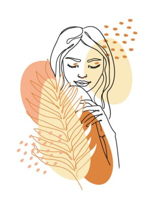 Fototapet Trendy abstract continuous one line woman portrait with palm leaf and geometric shapes. Vector.