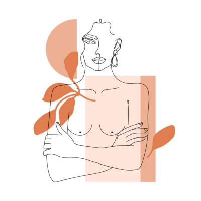 Fototapet Trendy one line woman body with abstract geometric shapes. Girl crossing arms on her chest. Elegant continuous line print for textile, poster, card, t-shirt etc. Vector fashion illustration.