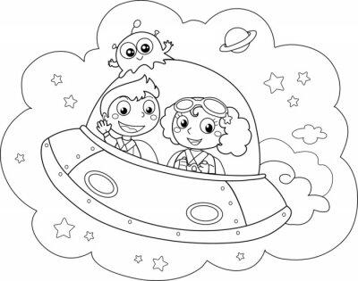 Fototapet Trevlig rymdfärjan styrs av barn