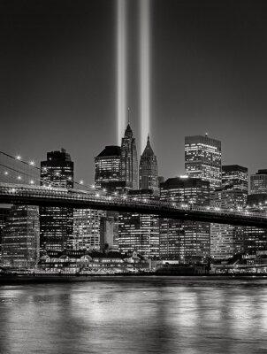 Fototapet Tribute i ljus, September 11 åminnelse, New York