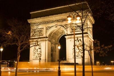 Fototapet Triumfbågen på natten, Paris, Frankrike.