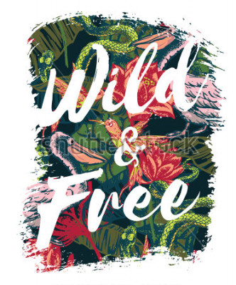 Fototapet Tropical exotic print with slogan for t-shirt graphic and other uses. Vector illustration.