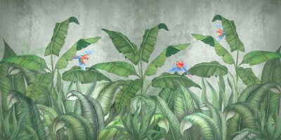 Fototapet Tropical jungle with flying parrots. Against the background of textured plaster.