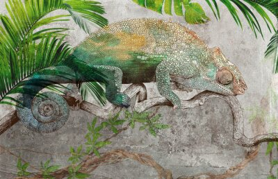 Fototapet Tropical leaves and plants with graphic drawn chameleon on concrete grunge wall. Great choise for wallpaper, photo wallpaper, mural, card, postcard. Design for modern and loft interiors.