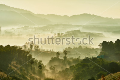 Fototapet Tropical nature landscape mountains forest with slightly fog in morning and sunlight, Thailand.