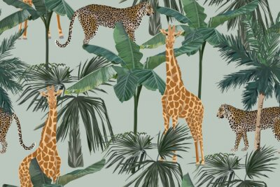 Fototapet Tropical seamless pattern with palm trees, giraffes and leopards. Summer yungle background. Vintage vector illustration. Rainforest landscape
