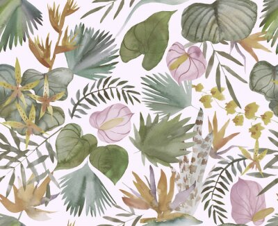 Fototapet Tropical seamless pattern with tropical flowers, banana leaves.  Round palm leaves, watercolor painted