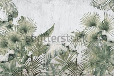 Fototapet tropical trees and leaves wallpaper design in foggy forest - 3D illustration