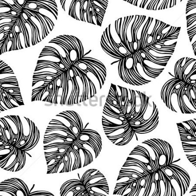 Fototapet Tropical trendy seamless pattern with exotic leaves.
