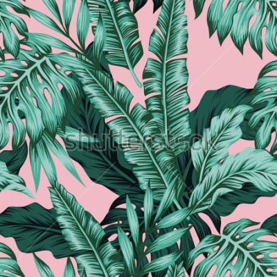 Fototapet Tropical vector green leaves seamless pattern pink background. Exotic wallpaper