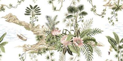 Fototapet Tropical vintage botanical island, palm tree, mountain, sea wave,boat, palm leaves, liana, lotus flower summer floral seamless pattern white background.Exotic jungle wallpaper.