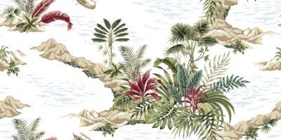 Fototapet Tropical vintage botanical island, seamless pattern white background. Exotic jungle wallpaper.