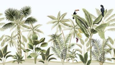 Fototapet Tropical vintage botanical landscape, palm tree, banana tree, plant, black parrot, toucan floral seamless border blue background. Exotic green jungle animal wallpaper.