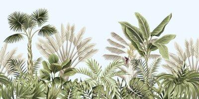 Fototapet  Tropical vintage botanical landscape, palm tree, banana tree, plant floral seamless border blue background. Exotic green jungle wallpaper.