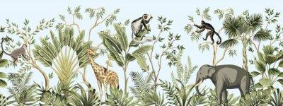 Fototapet Tropical vintage botanical landscape, palm tree, banana tree, plant, palm leaves, giraffe, monkey, elephant floral seamless border blue background. Jungle animal wallpaper.