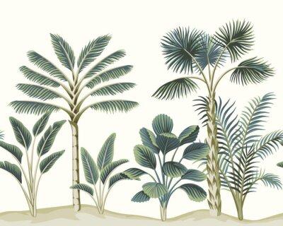 Fototapet Tropical vintage Hawaiian palm trees, banana tree, plant floral seamless pattern white background. Exotic jungle wallpaper.