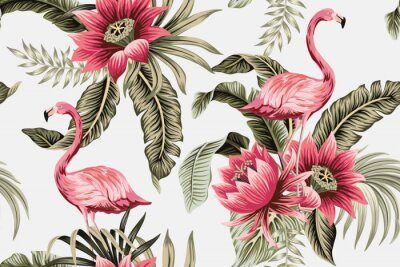 Fototapet Tropical vintage pink flamingo, pink hibiscus, palm leaves floral seamless pattern grey background. Exotic jungle wallpaper.