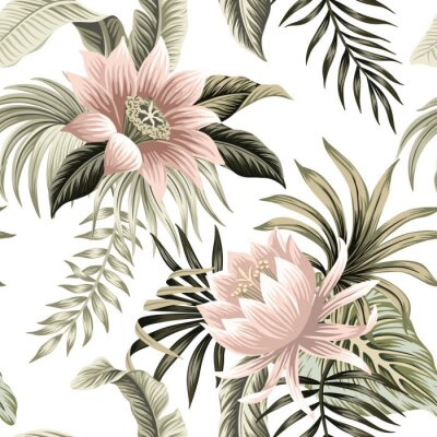 Fototapet Tropical vintage pink lotus, palm leaves, banana leaves floral seamless pattern white background. Exotic jungle wallpaper.