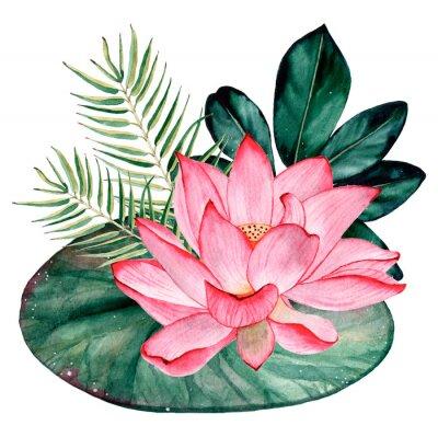 Fototapet Tropical watercolor bouquet and composition