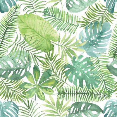 Fototapet Tropisk seamless med löv. Akvarell bakgrund med tropiska blad.