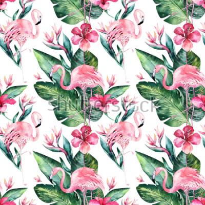 Fototapet Tropisk sömlös blommig sommarmönster bakgrund med tropiska palmblad, rosa flamingo fågel, exotisk hibiskus. Perfekt för bakgrundsbilder, textil design, tygutskrift.