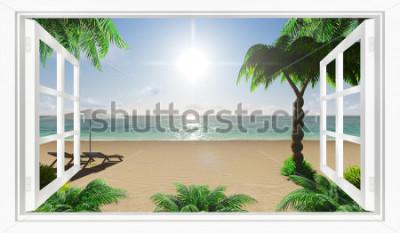 Fototapet Tropisk strand utsikt över havet från fönstret