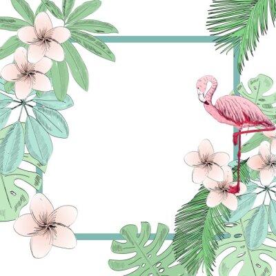 Fototapet Tropisk vektor illustration med flamingo och blommor.