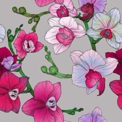 Fototapet tropiska blom- seamless hand ritning orkidé blommor
